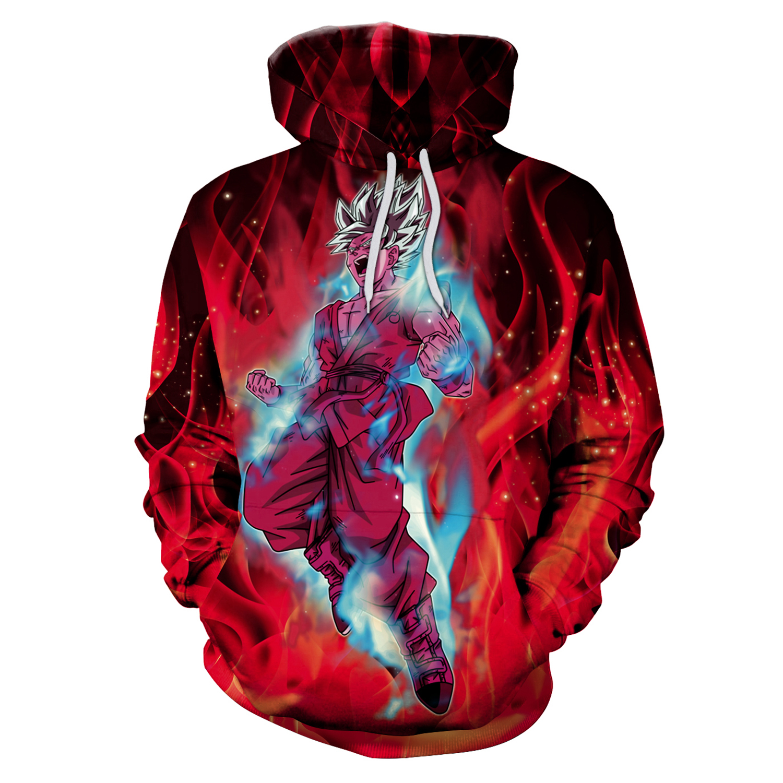 Dragon Ball 3D Print Hoodies with Hat Men Round Neck Loose Sweatshirt Pullover Sudaderas Para Hombre Streetwear Winter Clothes
