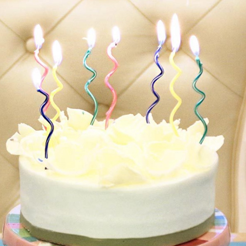 10 Pcs/ Lot Colored Curving Cake Candle Safe Flames Kids Birthday Party Wedding Cake Candle Home Decoration Favor Supplies