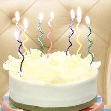 10 шт./лот, цветные изогнутые свечи для торта, безопасное пламя, детский праздничный торт на день рождения, свадьбу, свеча украшение дома, товары для подарка