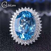 Супер роскошное серебряное кольцо с топазом 13 мм * 18 мм натуральное швейцарское кольцо с голубым топазом для вечерней вечеринки цельное Сер