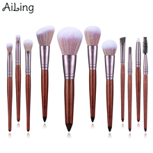 AiLing 11pcs Soft Synthetic Hair Eyebrow Eyelash Makeup Brush Set Foundation Angled Blush Contour Brushes for Face Make Up