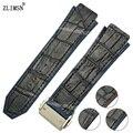 ZLIMSN 26 мм Черная Кожа + Резиновые Ремешки Для Наручных Часов Ремешок ремешок для H-U-B Браслет Группа Sweatband Наручные Мужчины Женщины