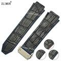 ZLIMSN 26mm Cuero Negro + Pulsera Banda De Goma correas de Reloj correa de Reloj para H-U-B Sweatband Muñeca Mujeres de Los Hombres