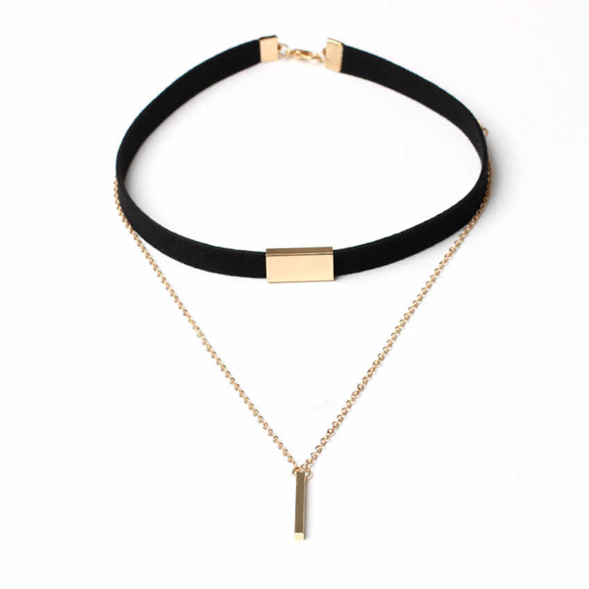 Harajuku Charm Woman Velvet Chain Bar Chokers Necklace Elegant Retro female Collar Party Jewelry Neck accessories 2colors