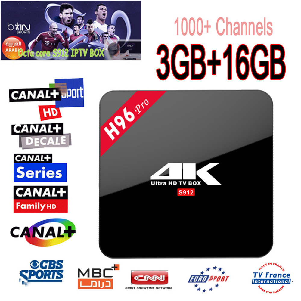 1 Year IPTV Europe 1000+Channels H96 Pro Android 6.0 Tv Box Amlogic S912 3GB/16GB Octa Core WiFi BT4.0 UHD 4K Smart Media Player french iptv h96 pro belgium netherlands luxembourg europe iptv iptv s912 octa core 3g ram 32g gb rom android 6 0 tv box