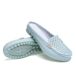 Image 5 - BEYARNE Sandalias planas de piel auténtica para mujer, chanclas planas, para verano