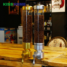 1800g Coffee Bean Dispenser Container Stand Aluminium Alloy & Acrylic Tea Leaves Canister Suspension Wall-mounted Sealed Jar