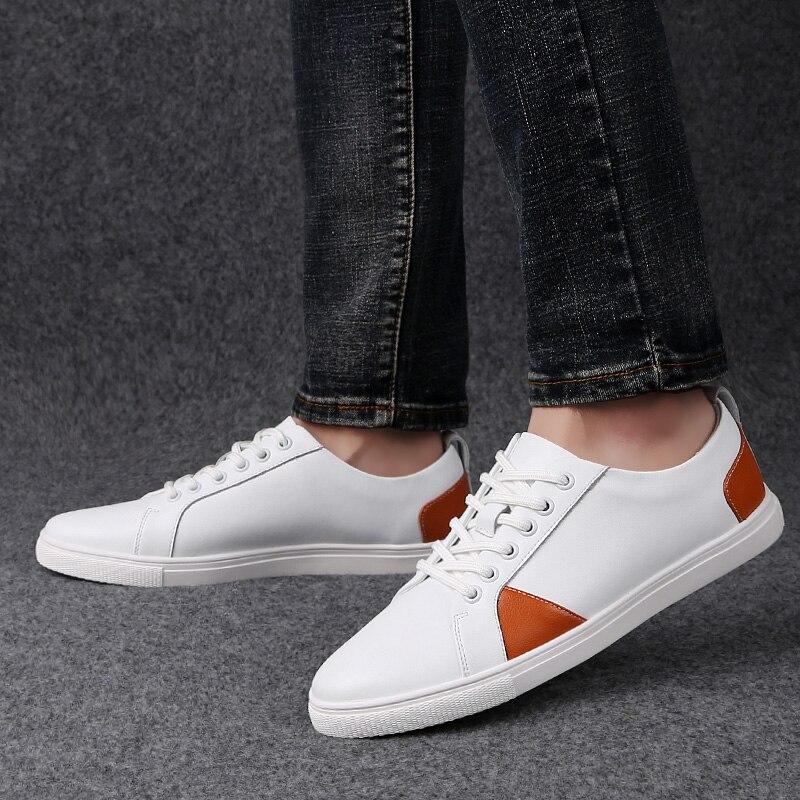 Qualidade Dos Genuine Moda Homem Para Calçados À Feitos Black Sapatos white Apartamentos Oxfords Couro Mão Respirável orange Alta up De Lace Casuais Homens ggFtwYq