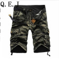 Q.E.J.2017 shorts masculina Camouflage Cargo Military Shorts Men Cotton Loose Shorts Men Army Short Pants Bermuda