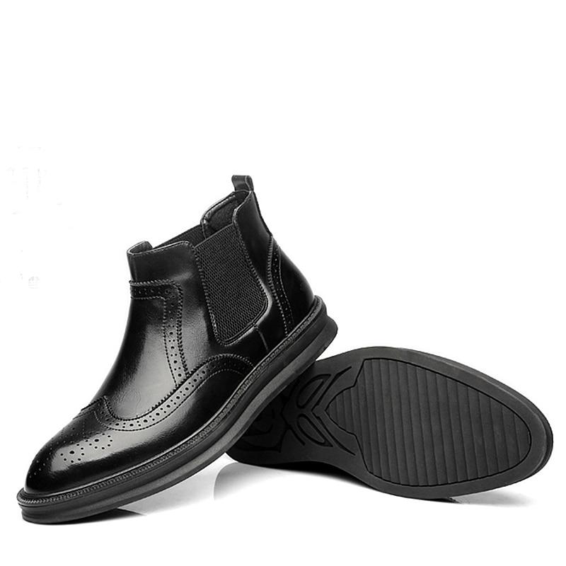 Black Slip 2019 Boots Moda Sapatos Botas Vestido Oxford Grossa on Sola Masculina Chelsea Homens brown De red Brogue Boots Boots Tornozelo Misalwa Sólida Primavera OqTffU