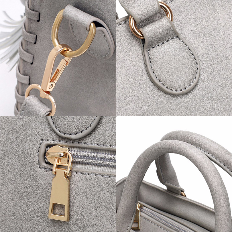 2017 Women Leather Top-Handle Handbags Ladies Tassel Design Tote Shoulder Bag Luxury Brand Design Tassel Crossbody Messenger Bag
