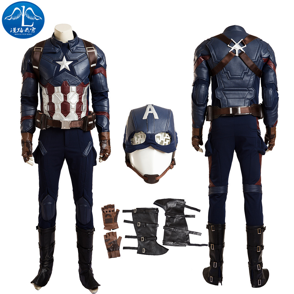 ManLuYunXiao Captain America Costume Men Full Set Update Version Halloween Cosplay Costumes For Men Leather Suit Custom Made