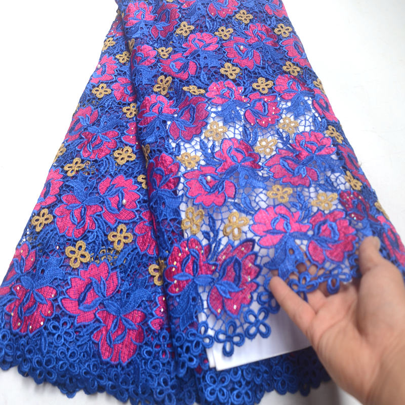 African Lace Fabric 2019 Embroidered Nigerian Lace Fabric With Beads Stone High Quality French Tulle Lace