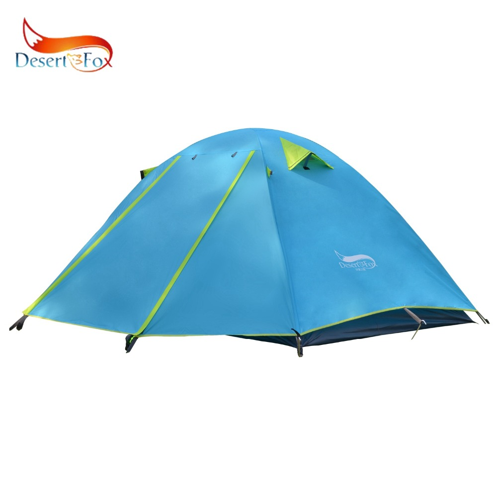 Desert&Fox Single Camping Tent, Aluminum Poles Double Layers Waterproof Large Space Portable Storage Package Travel Tent 2