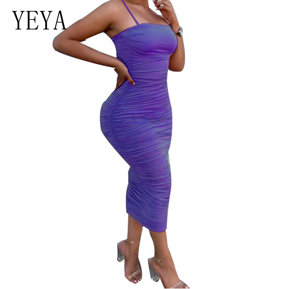 YEYA Retro Spaghetti Strap Sleeveless Slim Dress Women Stretchy Package Hip Bodycon Bandage Dress Sexy Club Party Pencil Dresses in Dresses from Women 39 s Clothing