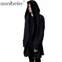 Aonibeier الرجال عباءة مقنعين مع الأسود ثوب الهيب هوب هوديس أزياء سترة طويلة الأكمام عباءة الرجل المعاطف أبلى