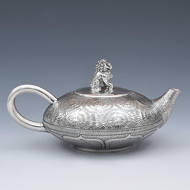 Pure Silver Household Small Teapot Pure Silver Handmade Kirin Teapot Creative Kungfu Tea Ware Silver Teapot