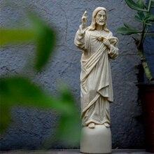 Святая ручная роспись религиозная Статуэтка винтажная Статуя Иисуса Святого Сердца 22,5 см высота