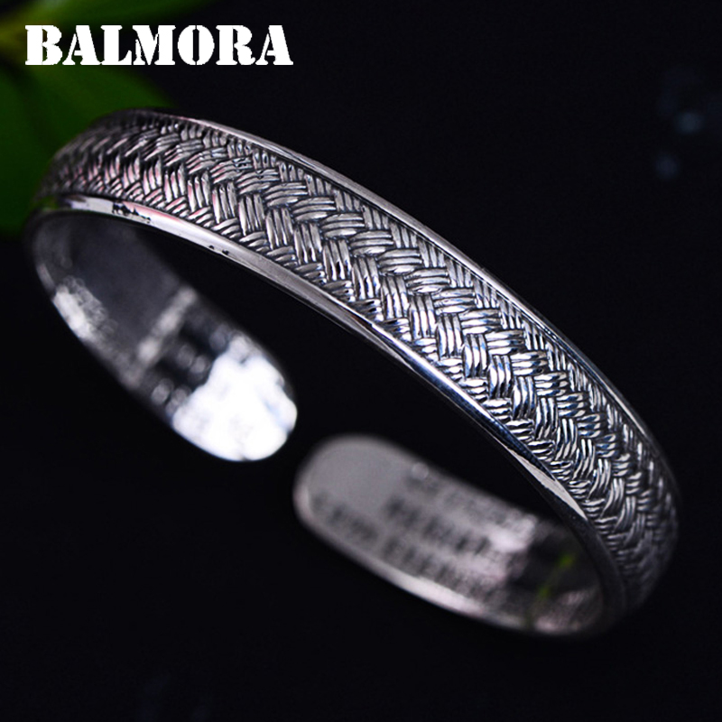 BALMORA 999 Pure Silver Woven Rope Open Bangles for Women About 16 cm Bracelet Jewelry Anniversary Accessories Esposas JWB060422 майка print bar waiting for spring