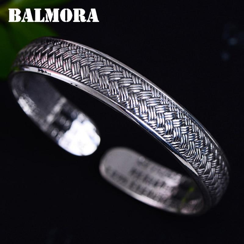 BALMORA 999 Pure Silver Woven Rope Open Bangles for Women About 16 cm Bracelet Jewelry Anniversary Accessories Esposas JWB060422 обложки domenico morelli cristalli бумажник водителя