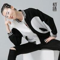 Toyouth phụ nữ áo khoác mùa thu mùa đông mới panda in màu sắc tương phản chắp vá chày jacket tops