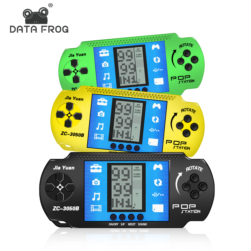 Data Frog Retro Classic Gaming Tetris Handheld Game Console Kids Tetris Game Player Toys Built In 23 Classic Games