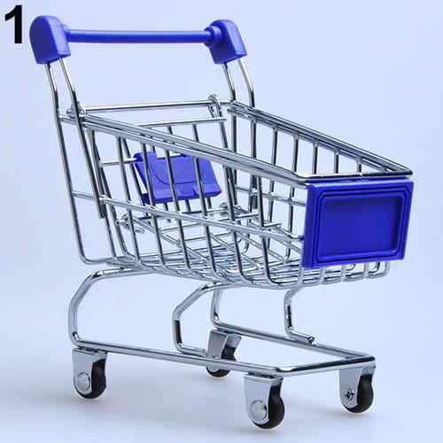 Supermarkt Handcart Trolley Mini Winkelwagen Desktop Decor Opslag Speelgoed Gift Voor Kid Poppenhuis Meubels Accessoires