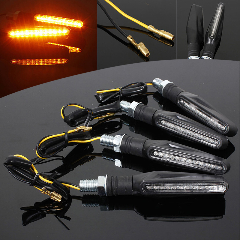 4pcs Universal 12LED Motorcycle ATV Turn Signal Indicator Light Blinker Amber 2017 new arrival 4pcs 12v universal motorcycle flasher turn led signal indicator resistor adaptor light moto accessories n1