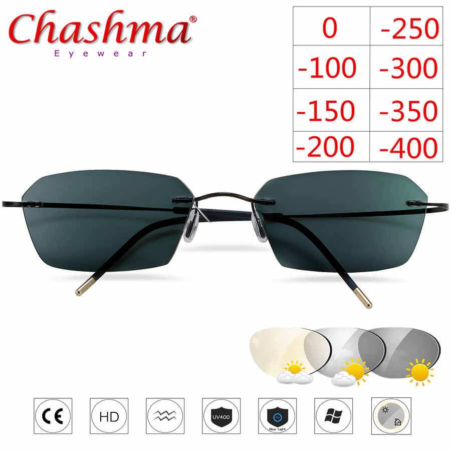 NEW Titanium Rimless Glasses Myopia Glasses Photochromic glasses Women Chameleon Glasses Lens with Diopters 1 0 1 5 2 0 2 5 3 0 in Men 39 s Eyewear Frames from Apparel Accessories