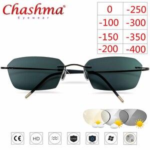 Image 2 - Occhiali senza montatura In Titanio Telaio Fotocromatiche Miopia occhiali Delle Donne Degli Uomini Chameleon Occhiali Lente con Diottrie 1.0 1.5 2.0 2.5 3.0