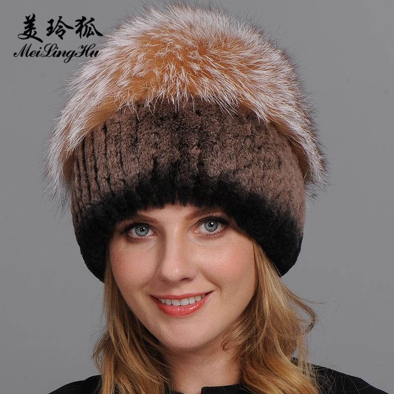 Las mujeres calientes genuine Pieles de animales sombreros Rex conejo  Pieles de animales Fox piel Top Mushroom forma gorras 2017 invierno nueva  mujer casual ... 040de90124c
