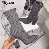 Eilyken Print Sexy Ankle Boots For Women Shoes Pointed Toe Thin High Heels Bootas Mujer Femme Zipper Chelsea Boots Size 35 42
