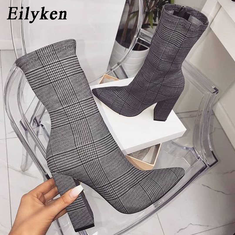 Eilyken Print Sexy Enkellaarsjes Voor Vrouwen Schoenen Wees Teen Dunne Hoge Hakken Bootas Mujer Femme Rits Chelsea Laarzen Maat 35-42
