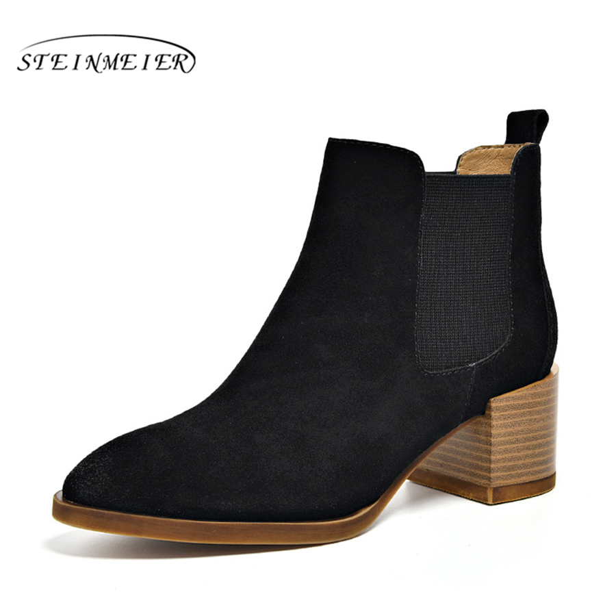Genuine cow Leather Ankle chelsea Boots women shoes pointed toe elastic band Handmade black coffee brown blue beige 2018 winter blue leather look skater skirt with elastic band