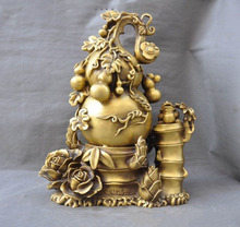 christmas Chinese brass Gourd Flower Bamboo Golden Toad Spittor Feng Shui wealth Statue halloween