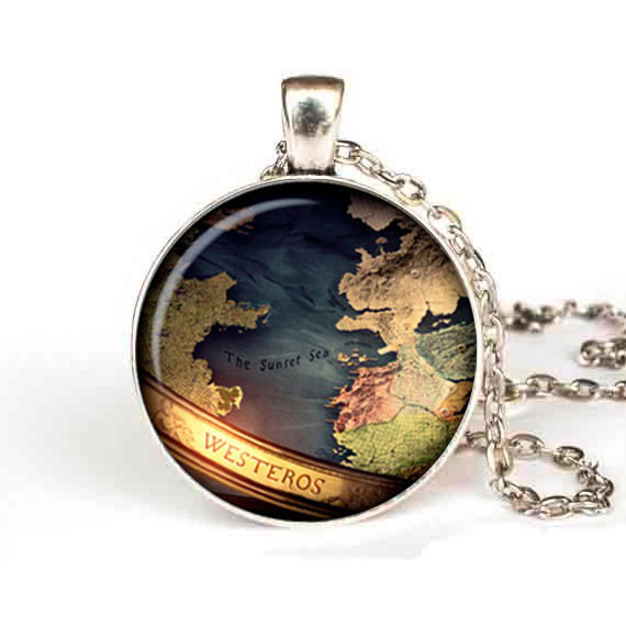 US Drama Map Game of thrones Pendant Necklace jewelry steampunk antique mens chain women ...