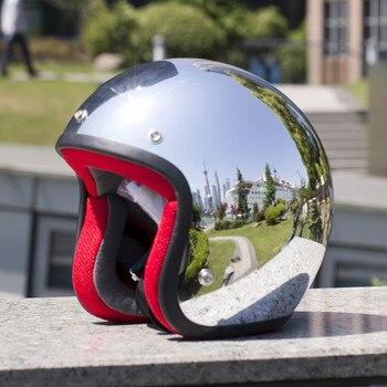 VCOROS-Casco retro para moto, de crucero para motocicleta, cromado, plateado, con espejo, color semiabiertas
