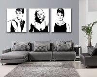3 개 추상 회화 인쇄 마릴린 먼로 팝 아트 포스터 그림 Cuadros 캔버스 벽 거실 프레임이없는