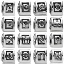 Vintage Triangle Alphabet A-Z 26 Letter Character Beads Fit Pandora Bracelet 925 Sterling Silver Charm Diy Jewelry(China)