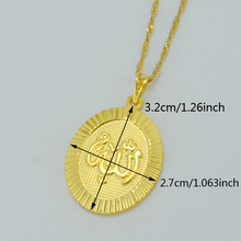 OVAL Gold Color Allah Pendant Necklaces for Women,Ahmed Arab Islam Mohammad Jewelry Muslim Middle Eastern #020904