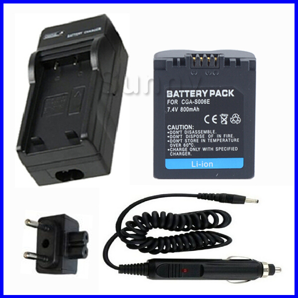Battery and Charger for Panasonic DE A43B and CGR S006 CGR S006A CGR S006E CGA S006