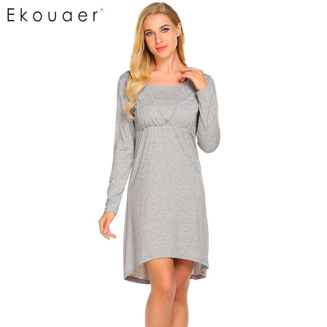 e59ede520a Ekouaer Nightgown Women Maternity Night Dress Loose Long Sleeve Casual  Chemise Nightdress Soft Sleepshirts Female Homewear
