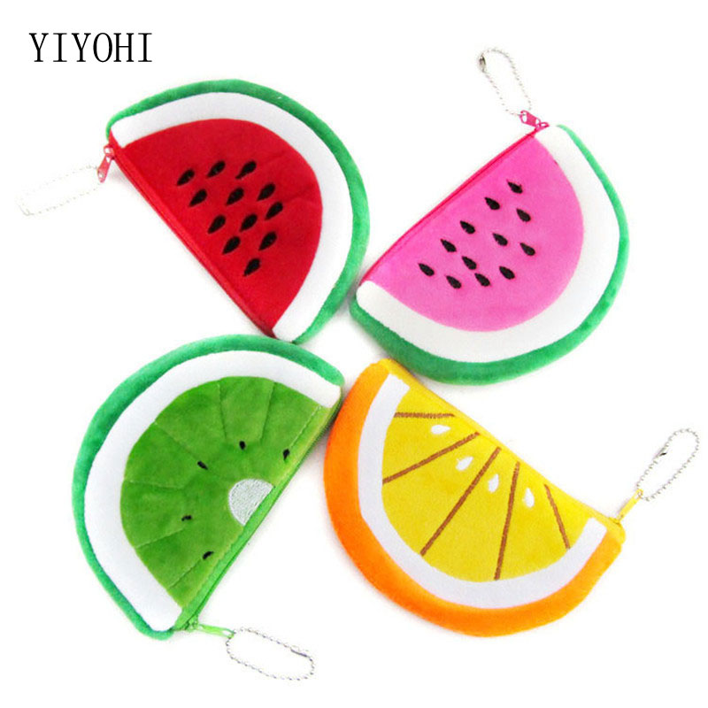 3D Fruit Coin Purse Hobos Pattern Coin Holders Children Zipper Money Bag Pouch Small Wallets Coin Bank Case for Kids