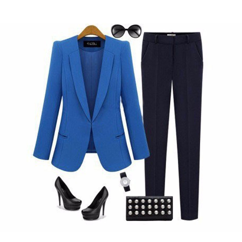2019 New Spring amp Autumn Women Coat Jacket Thin Small Suit Jacket Big Size Black blue Slim Casual Blazer for female Jacket in Blazers from Women 39 s Clothing