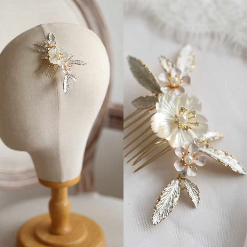 Jonnafe Natural Shell Flower Women Headpiece Bridal Small Hair Comb Delicate Wedding Hair Jewelry