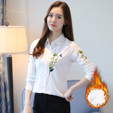 Vintage Embroidery Shirt Women Blouse New Plus Size S-3XL Plus Cashmere Long Sleeve Blouses Casual Office OL Female Shirts Blusa
