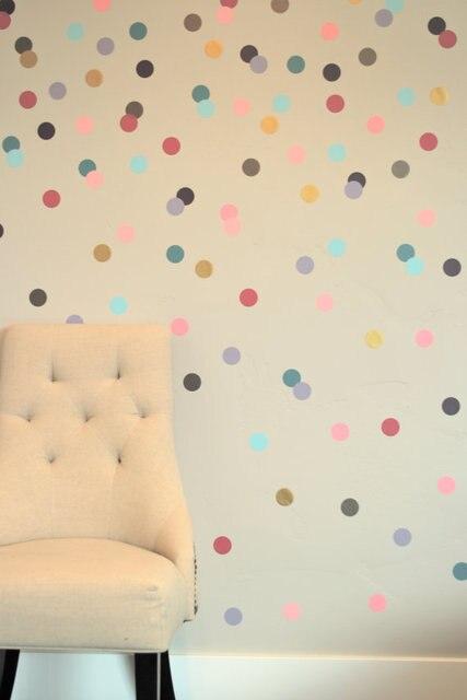 free ship 24pcs 4cm Confetti Polka Dot stickers,removable sticker on cabinet,Girly Brights Metallics VINYL DIY wall art,M2S1