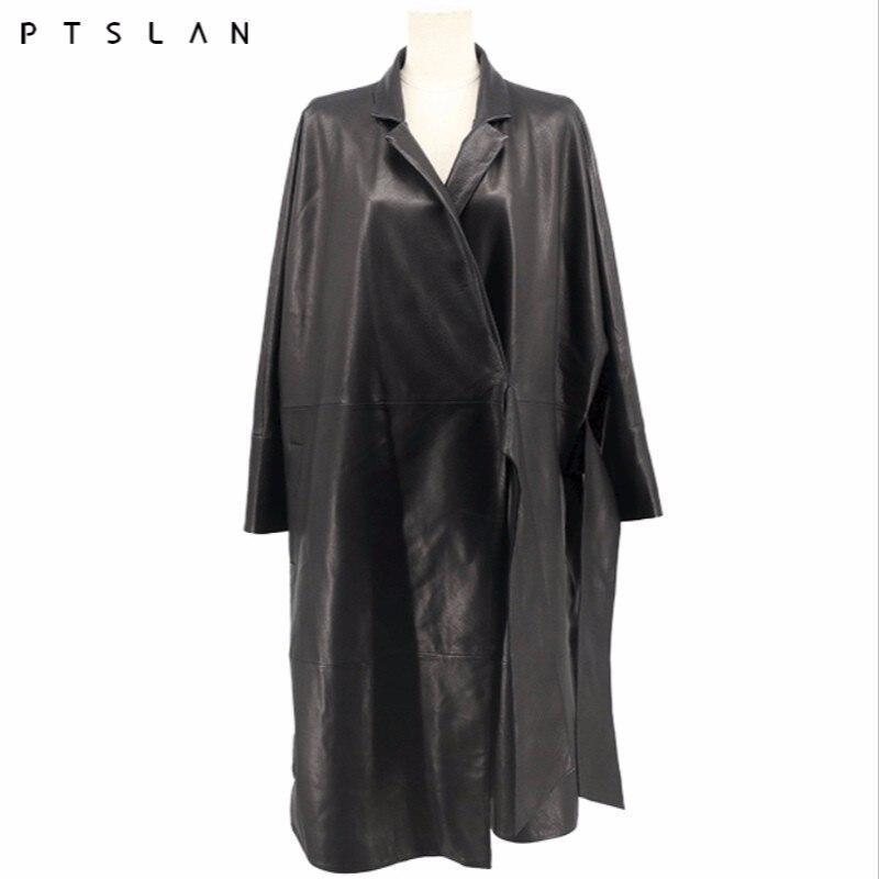 PTSLAN 2018 Femmes En Cuir de Veste Printemps Et Automne long Rayé Moto En Cuir Veste P4310