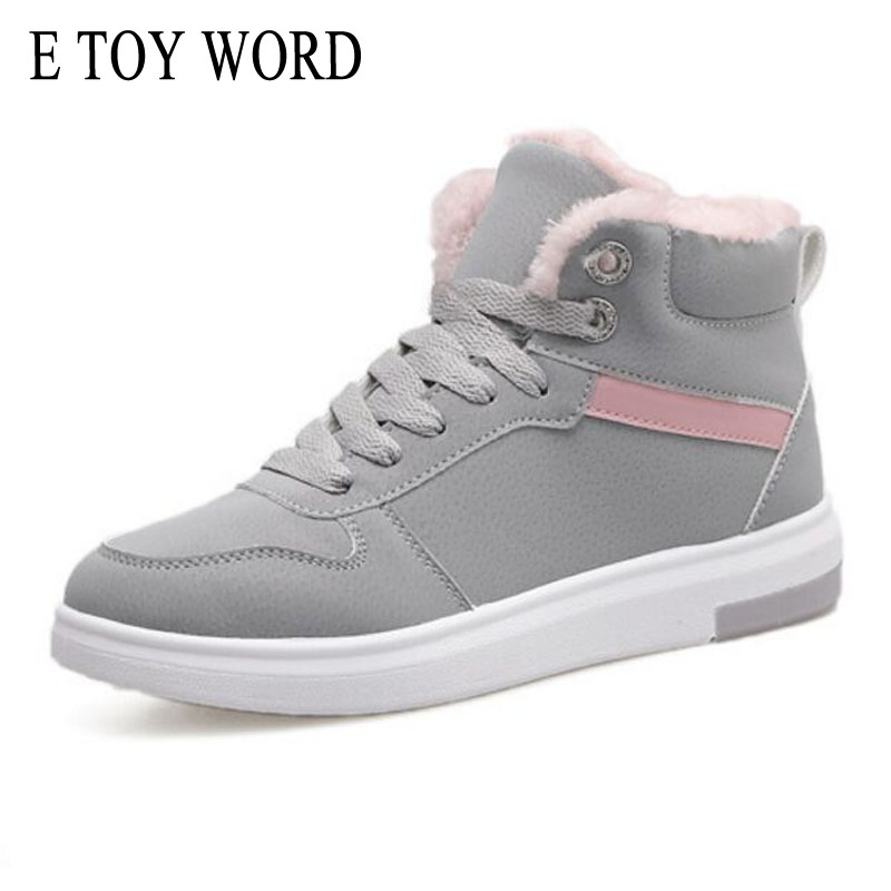 E TOY WORD Designer Women Winter Boots Female Flock Snow Ankle Boots Plush Fur Round Toe Lace-Up Warm Sneakers Shoes Bottes designer women winter ankle boots female fur lace up snow boots suede plush sewing botas
