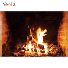 Yeele Brick Fireplace Flame Wood Room Decor Painting Photography Backdrop Personalized Photographic Backgrounds For Photo Studio